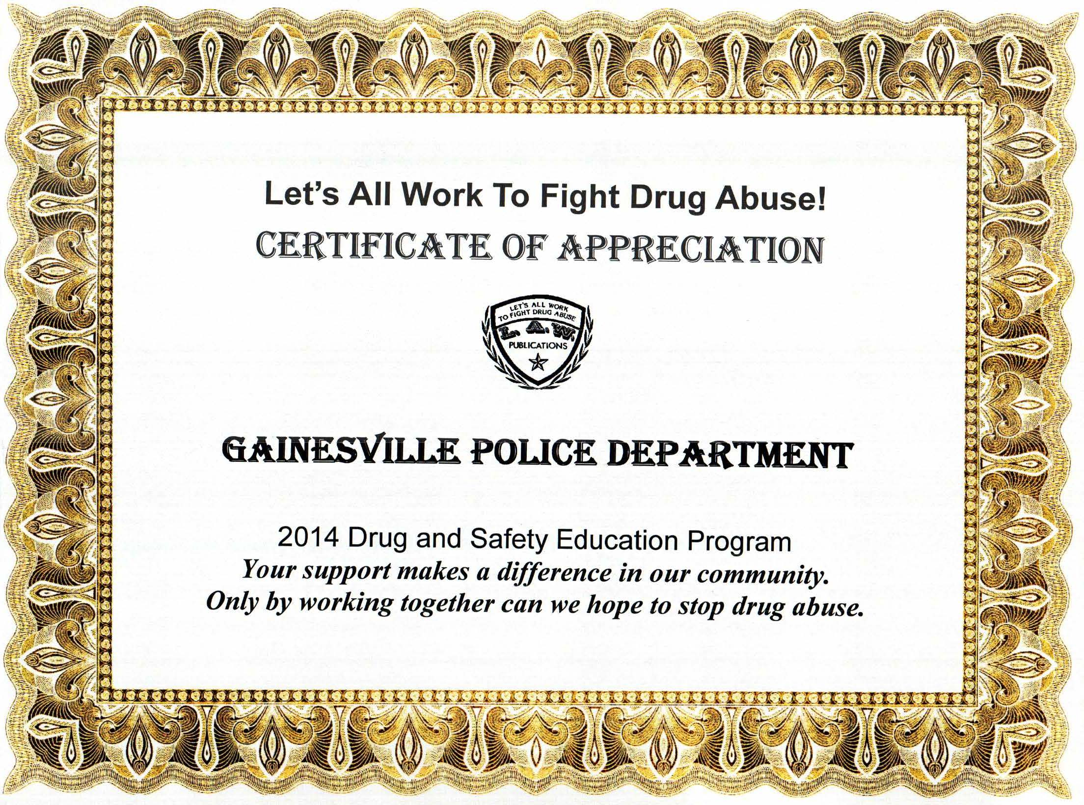 Gainesville Police Drug Certificate